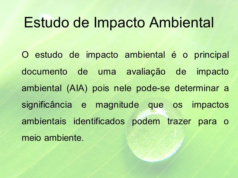 Estudo de Impacto Ambiental O estudo de impacto ambiental é o principal documento de uma avaliação de impacto ambiental (AIA) pois nele pode-se determinar a significância e magnitude que os impactos ambientais identificados podem trazer para o meio ambiente.