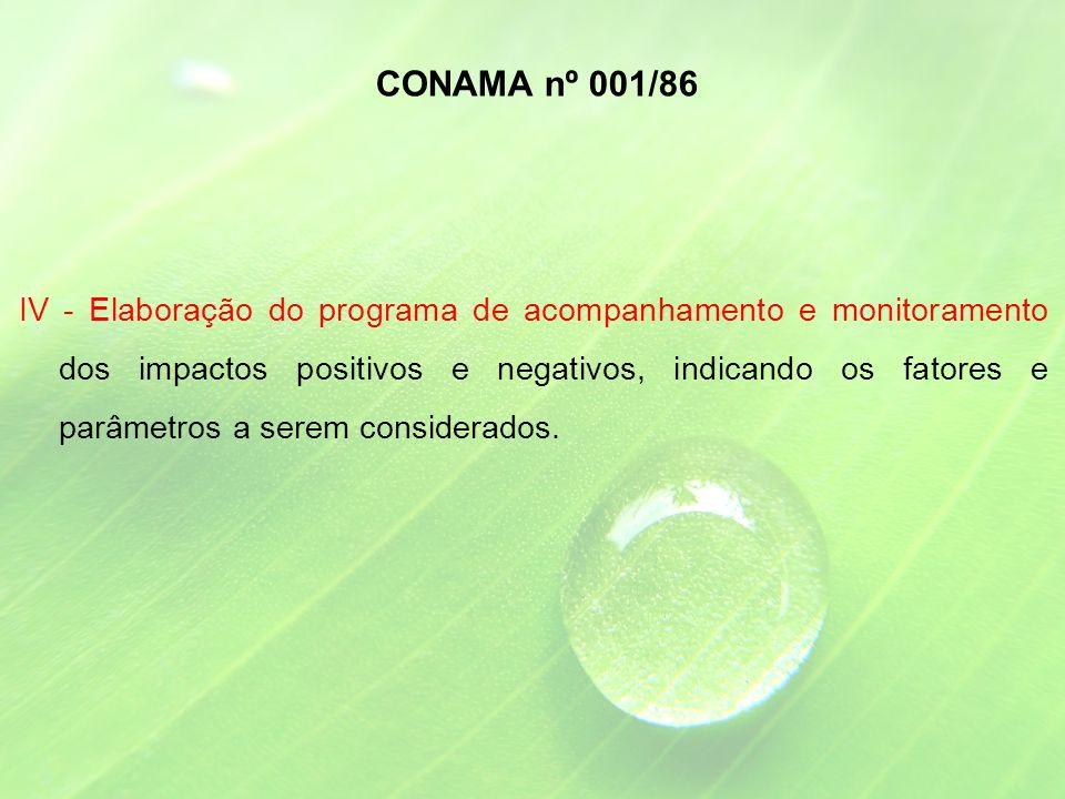 IV - Elaboração do programa de acompanhamento e monitoramento dos impactos positivos e negativos, indicando os fatores e parâmetros a serem considerados.
