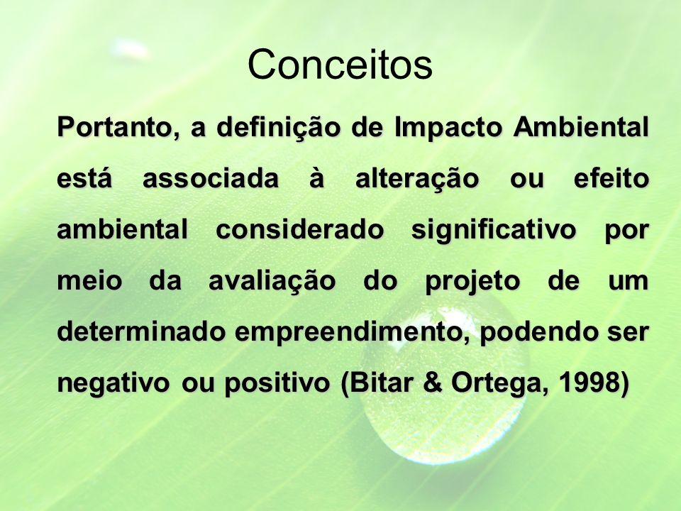 Conceitos Portanto, a definição de Impacto Ambiental está associada à alteração ou efeito ambiental considerado significativo por meio da avaliação do projeto de um determinado empreendimento, podendo ser negativo ou positivo (Bitar & Ortega, 1998)