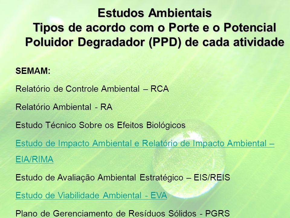 SEMAM: Relatório de Controle Ambiental – RCA Relatório Ambiental - RA Estudo Técnico Sobre os Efeitos Biológicos Estudo de Impacto Ambiental e Relatório de Impacto Ambiental – EIA/RIMA Estudo de Avaliação Ambiental Estratégico – EIS/REIS Estudo de Viabilidade Ambiental - EVA Plano de Gerenciamento de Resíduos Sólidos - PGRS Estudos Ambientais Tipos de acordo com o Porte e o Potencial Poluidor Degradador (PPD) de cada atividade