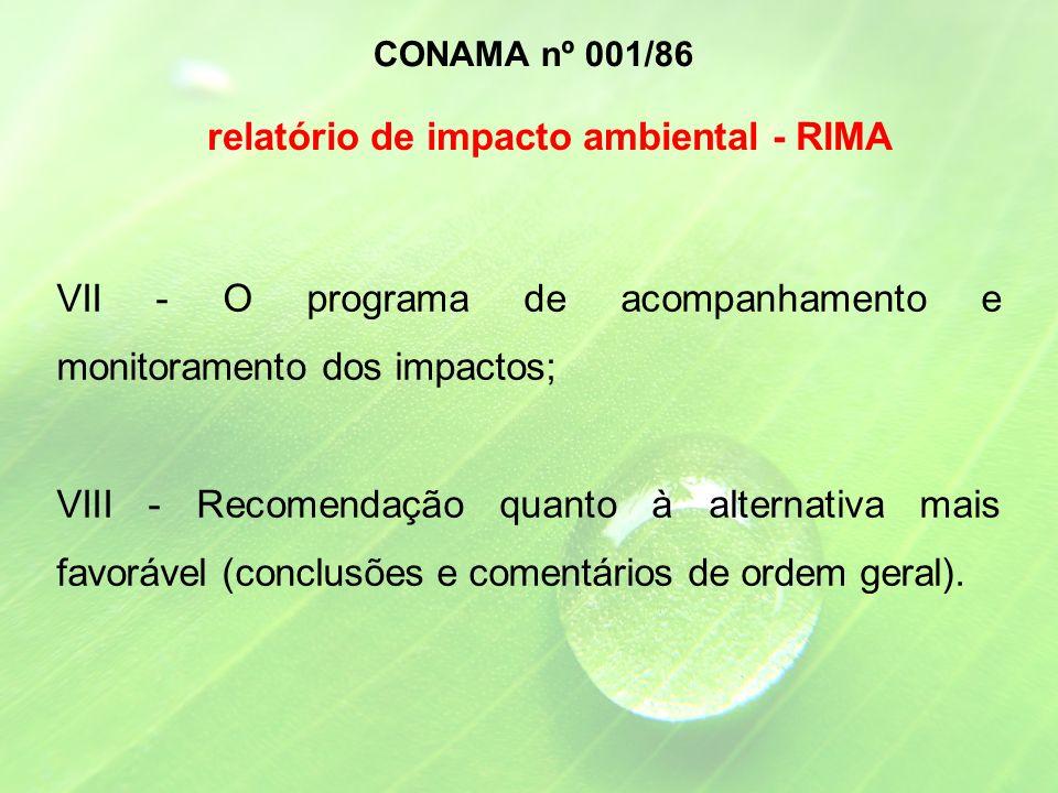 VII - O programa de acompanhamento e monitoramento dos impactos; VIII - Recomendação quanto à alternativa mais favorável (conclusões e comentários de ordem geral).