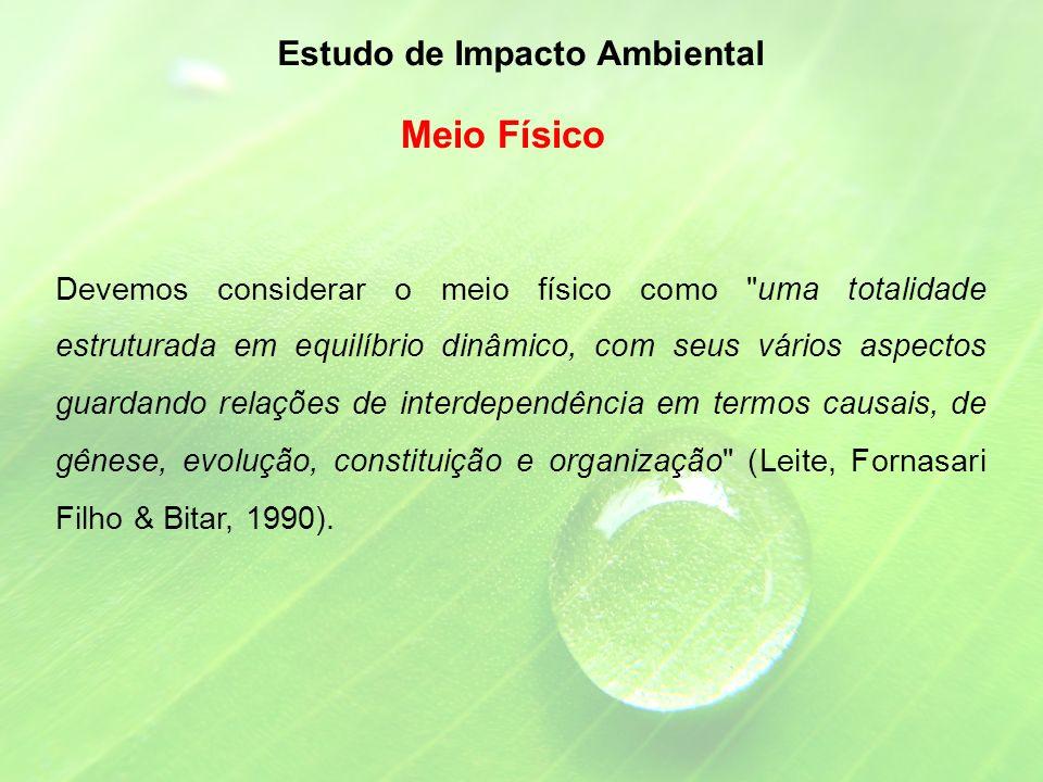 Devemos considerar o meio físico como uma totalidade estruturada em equilíbrio dinâmico, com seus vários aspectos guardando relações de interdependência em termos causais, de gênese, evolução, constituição e organização (Leite, Fornasari Filho & Bitar, 1990).