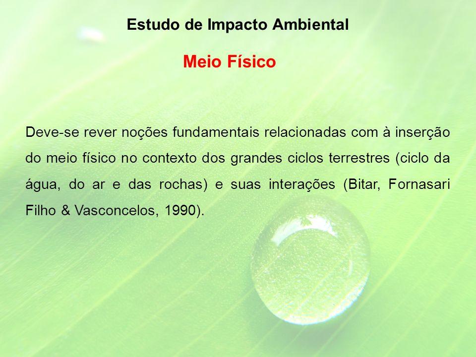 Deve-se rever noções fundamentais relacionadas com à inserção do meio físico no contexto dos grandes ciclos terrestres (ciclo da água, do ar e das rochas) e suas interações (Bitar, Fornasari Filho & Vasconcelos, 1990).