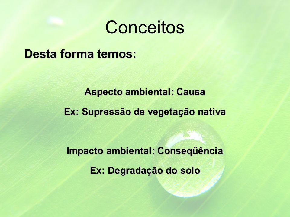 Conceitos Desta forma temos: Aspecto ambiental: Causa Ex: Supressão de vegetação nativa Impacto ambiental: Conseqüência Ex: Degradação do solo