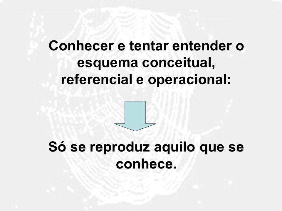 Conhecer e tentar entender o esquema conceitual, referencial e operacional: Só se reproduz aquilo que se conhece.