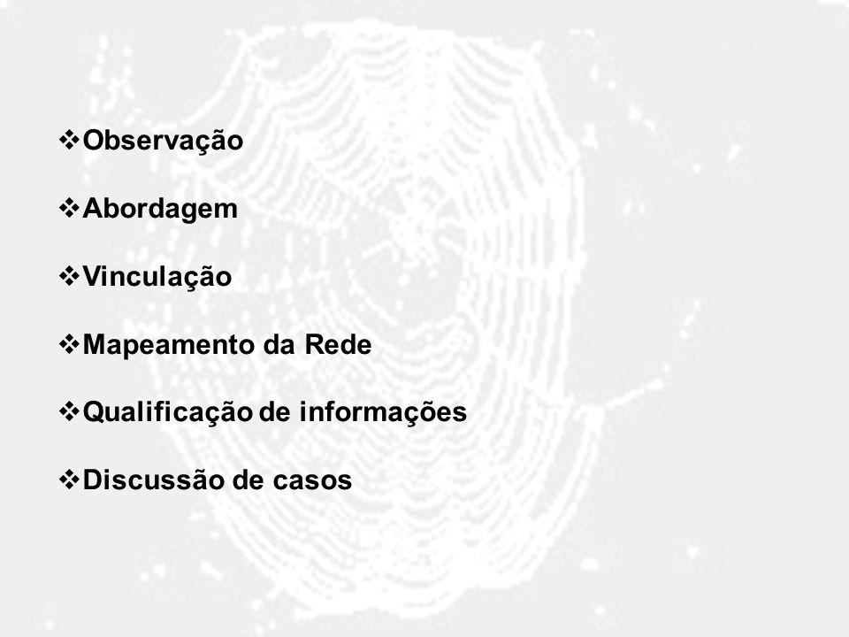 Observação Abordagem Vinculação Mapeamento da Rede Qualificação de informações Discussão de casos