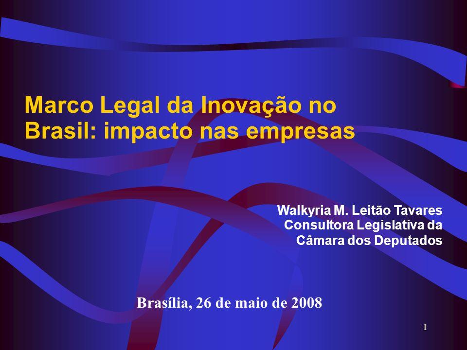 1 Marco Legal da Inovação no Brasil: impacto nas empresas Walkyria M. Leitão Tavares Consultora Legislativa da Câmara dos Deputados Brasília, 26 de ma