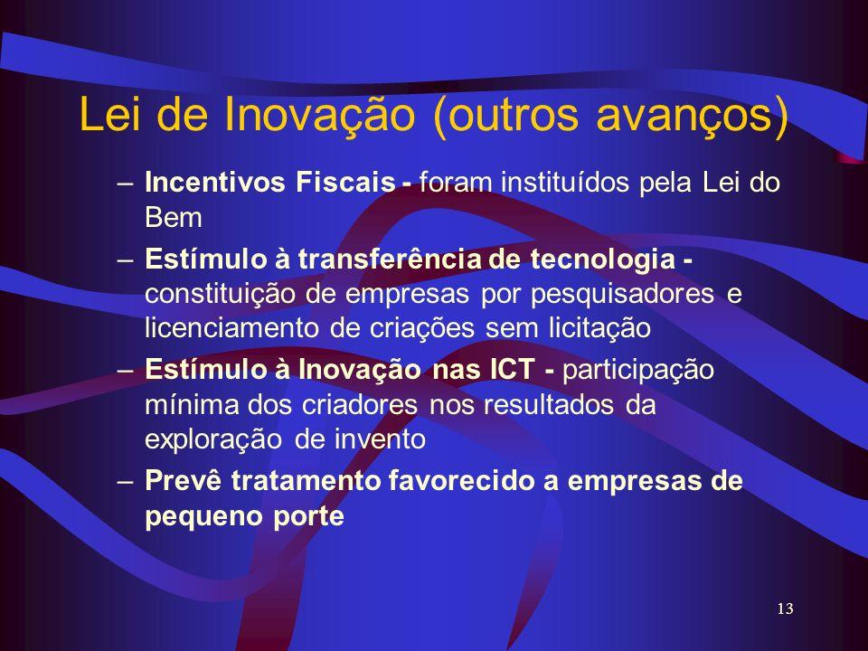 13 Lei de Inovação (outros avanços) –Incentivos Fiscais - foram instituídos pela Lei do Bem –Estímulo à transferência de tecnologia - constituição de