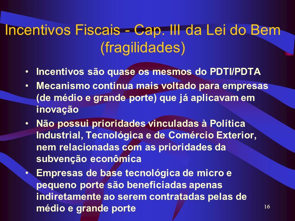 16 Incentivos Fiscais - Cap. III da Lei do Bem (fragilidades) Incentivos são quase os mesmos do PDTI/PDTA Mecanismo continua mais voltado para empresa