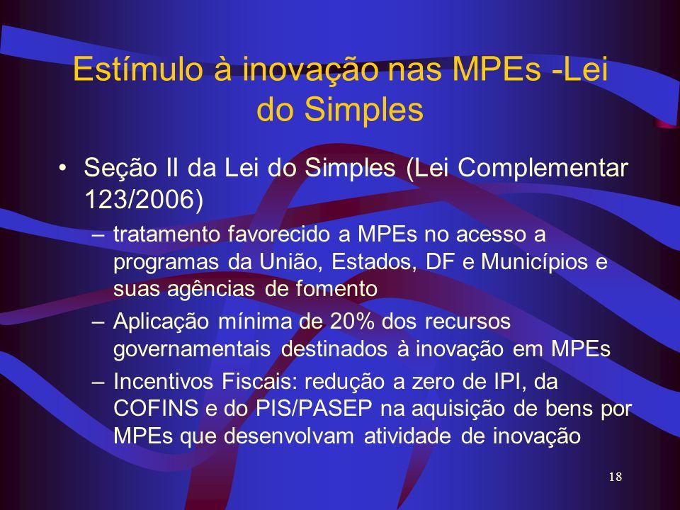 18 Estímulo à inovação nas MPEs -Lei do Simples Seção II da Lei do Simples (Lei Complementar 123/2006) –tratamento favorecido a MPEs no acesso a progr
