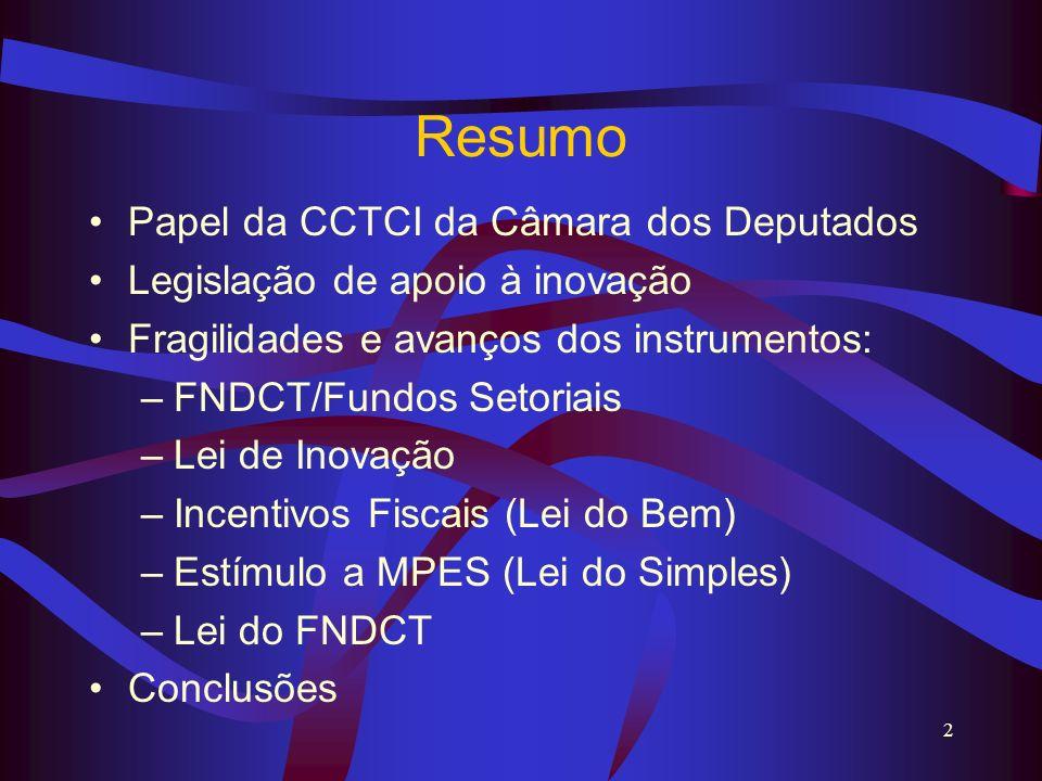 2 Resumo Papel da CCTCI da Câmara dos Deputados Legislação de apoio à inovação Fragilidades e avanços dos instrumentos: –FNDCT/Fundos Setoriais –Lei d