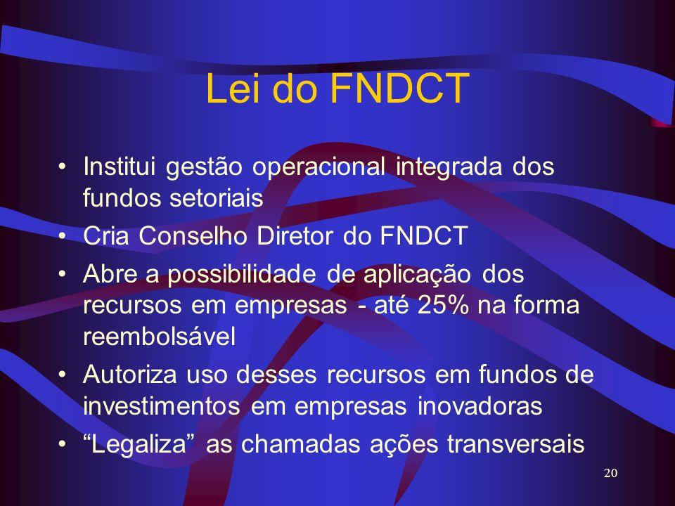 20 Lei do FNDCT Institui gestão operacional integrada dos fundos setoriais Cria Conselho Diretor do FNDCT Abre a possibilidade de aplicação dos recurs