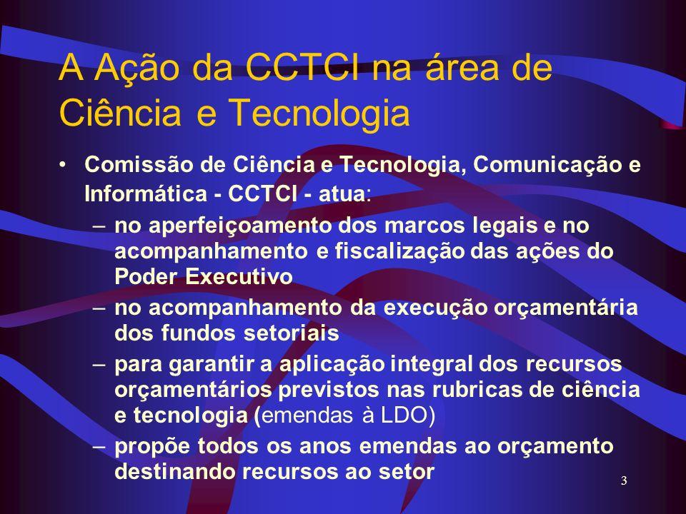 3 A Ação da CCTCI na área de Ciência e Tecnologia Comissão de Ciência e Tecnologia, Comunicação e Informática - CCTCI - atua: –no aperfeiçoamento dos