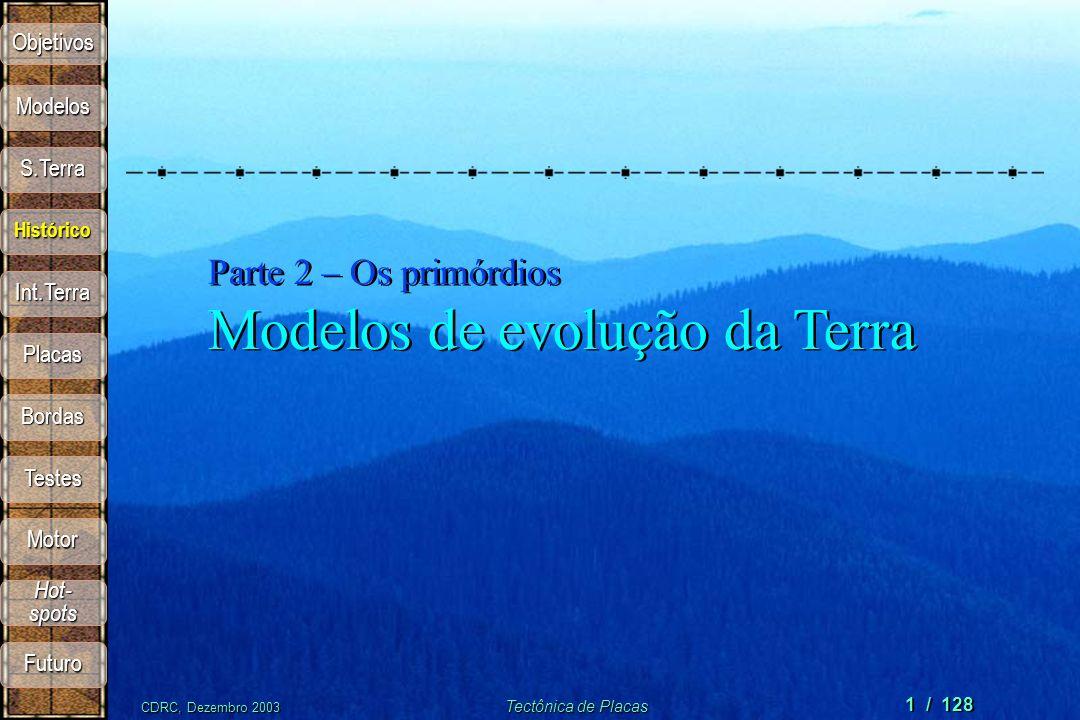 CDRC, Dezembro 2003 Tectônica de Placas 1 / 128 Parte 2 – Os primórdios Modelos de evolução da Terra Objetivos S.Terra Modelos Histórico Int.Terra Pla