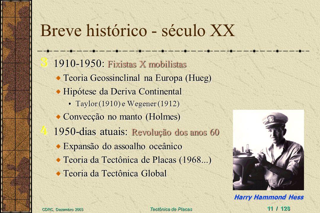 CDRC, Dezembro 2003 Tectônica de Placas 11 / 128 Breve histórico - século XX 3 1910-1950: Fixistas X mobilistas Teoria Geossinclinal na Europa (Hueg)