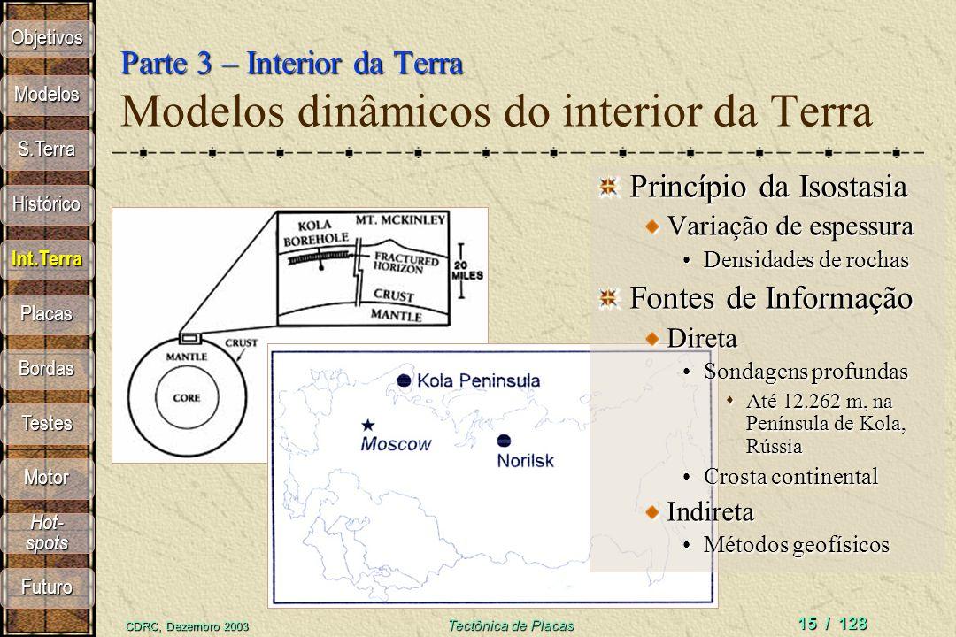 CDRC, Dezembro 2003 Tectônica de Placas 15 / 128 Parte 3 – Interior da Terra Parte 3 – Interior da Terra Modelos dinâmicos do interior da Terra Princí
