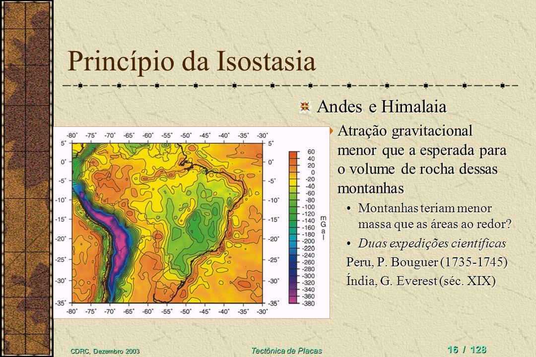 CDRC, Dezembro 2003 Tectônica de Placas 16 / 128 Princípio da Isostasia Andes e Himalaia Atração gravitacional menor que a esperada para o volume de r
