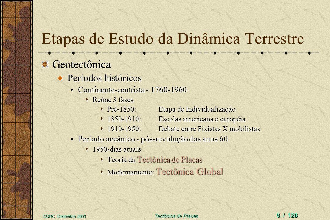 CDRC, Dezembro 2003 Tectônica de Placas 6 / 128 Etapas de Estudo da Dinâmica Terrestre Geotectônica Períodos históricos Períodos históricos Continente
