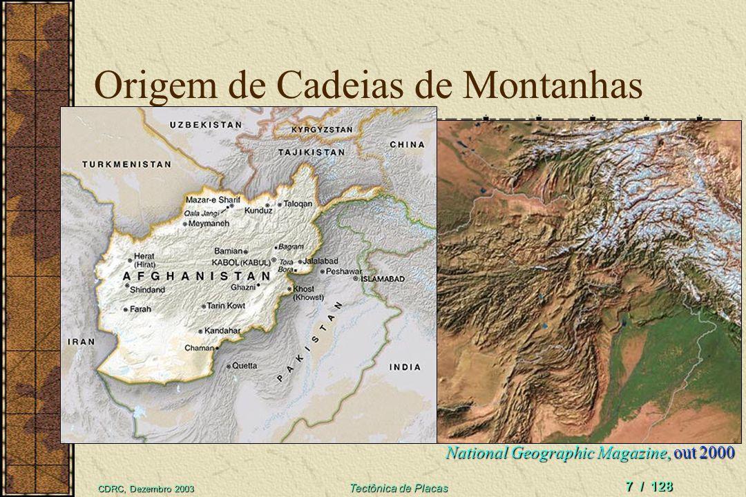 CDRC, Dezembro 2003 Tectônica de Placas 7 / 128 Origem de Cadeias de Montanhas National Geographic Magazine, out 2000