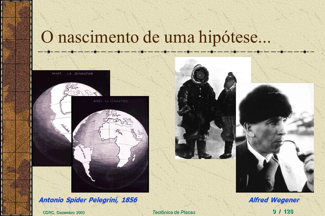 CDRC, Dezembro 2003 Tectônica de Placas 9 / 128 O nascimento de uma hipótese... Alfred Wegener Antonio Spider Pelegrini, 1856
