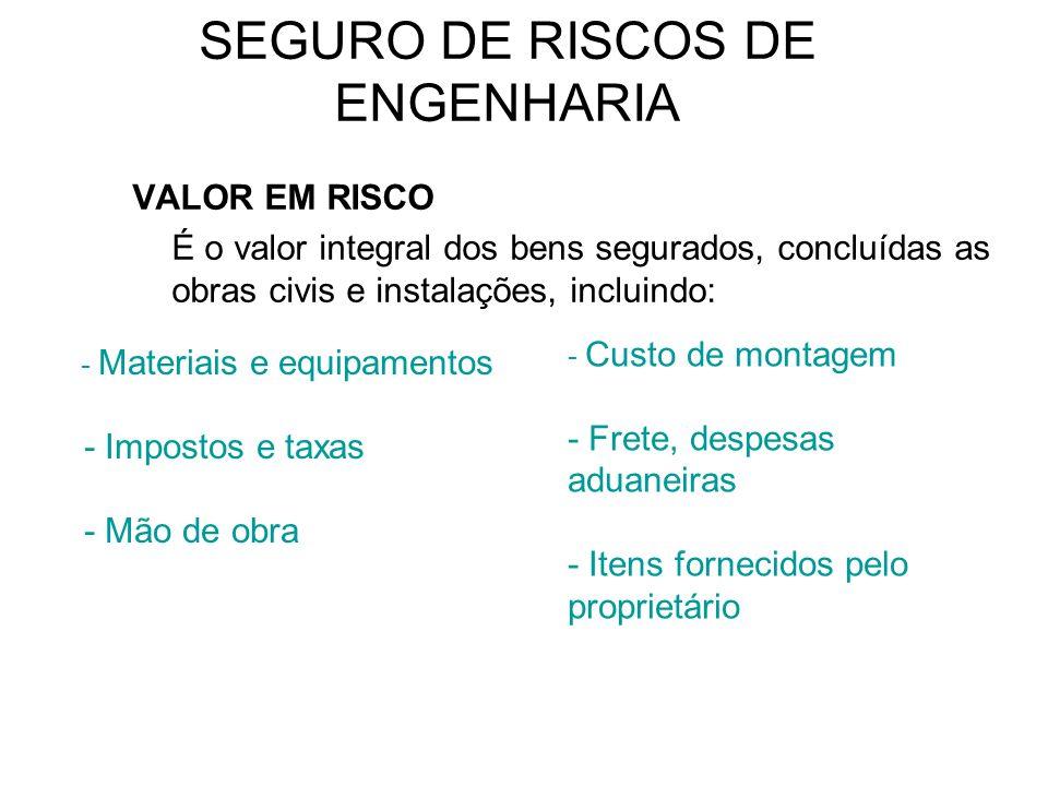 VALOR EM RISCO É o valor integral dos bens segurados, concluídas as obras civis e instalações, incluindo: - Materiais e equipamentos - Impostos e taxa