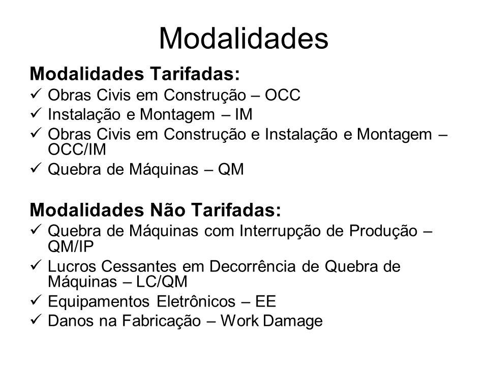 Modalidades Modalidades Tarifadas: Obras Civis em Construção – OCC Instalação e Montagem – IM Obras Civis em Construção e Instalação e Montagem – OCC/