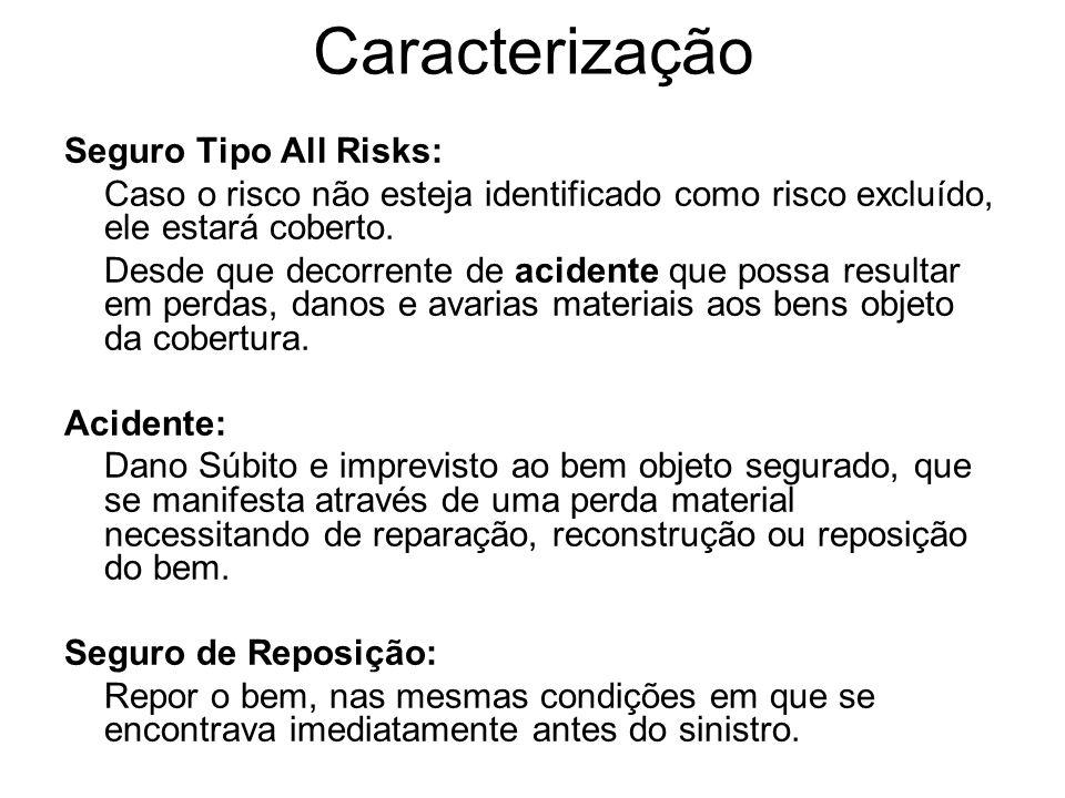 Caracterização Seguro Tipo All Risks: Caso o risco não esteja identificado como risco excluído, ele estará coberto. Desde que decorrente de acidente q