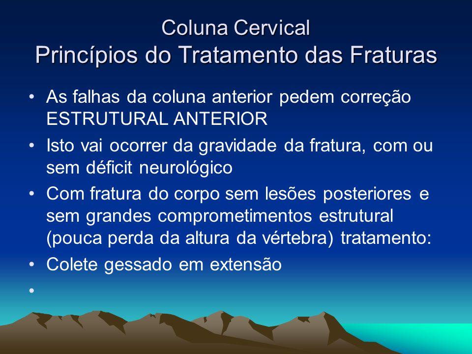 Coluna Cervical Princípios do Tratamento das Fraturas As falhas da coluna anterior pedem correção ESTRUTURAL ANTERIOR Isto vai ocorrer da gravidade da