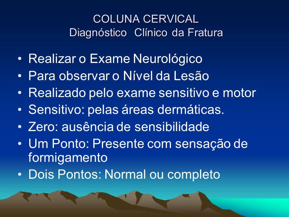 COLUNA CERVICAL Diagnóstico Clínico da Fratura COLUNA CERVICAL Diagnóstico Clínico da Fratura Realizar o Exame Neurológico Para observar o Nível da Le