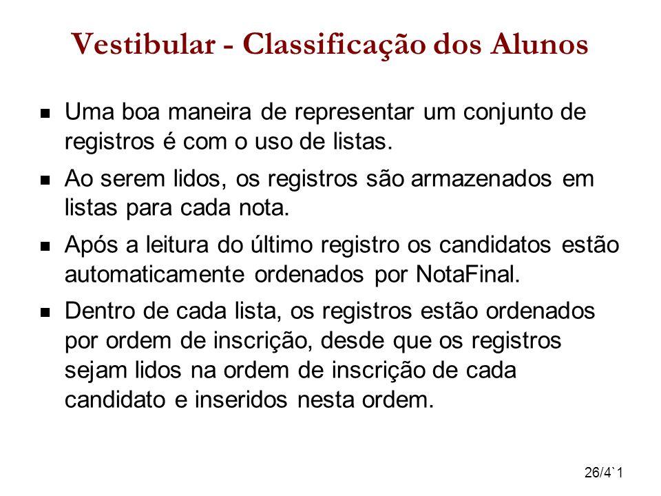26/4`1 Vestibular - Classificação dos Alunos Uma boa maneira de representar um conjunto de registros é com o uso de listas. Ao serem lidos, os registr