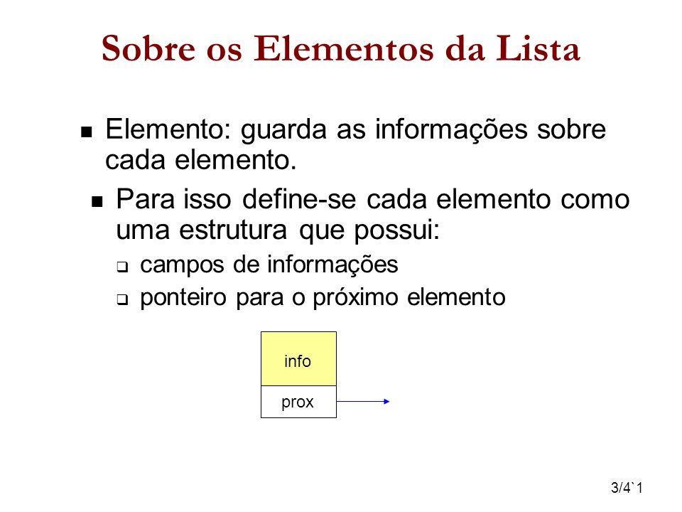 4/4`1 Sobre a Lista Uma lista pode ter uma célula cabeça info prox info prox info NULL Uma lista pode ter um apontador para o último elemento Último