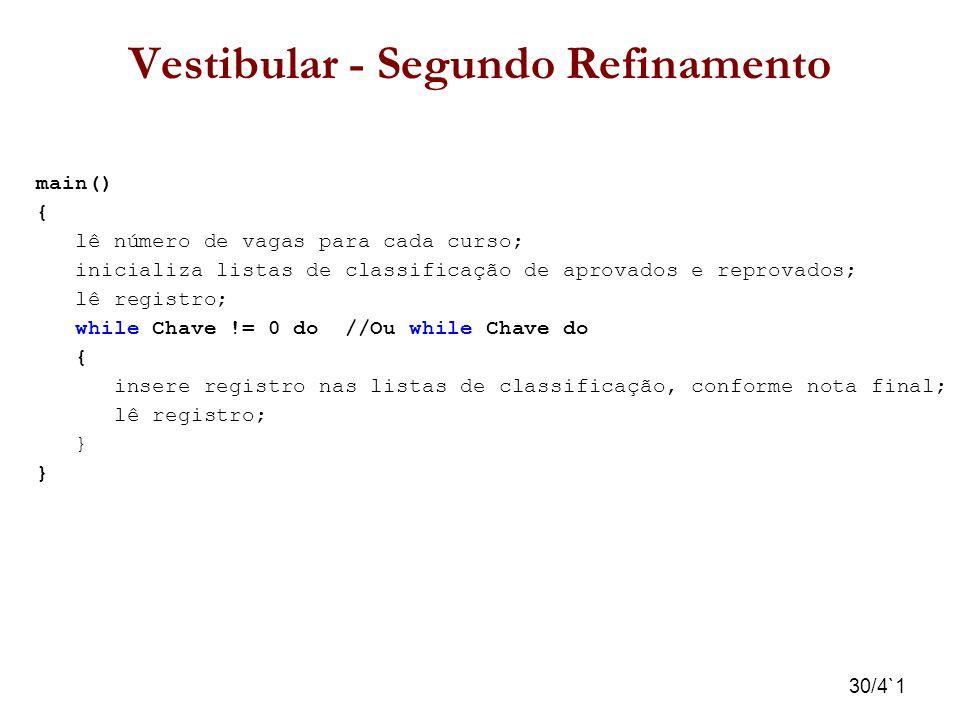 30/4`1 Vestibular - Segundo Refinamento main() { lê número de vagas para cada curso; inicializa listas de classificação de aprovados e reprovados; lê