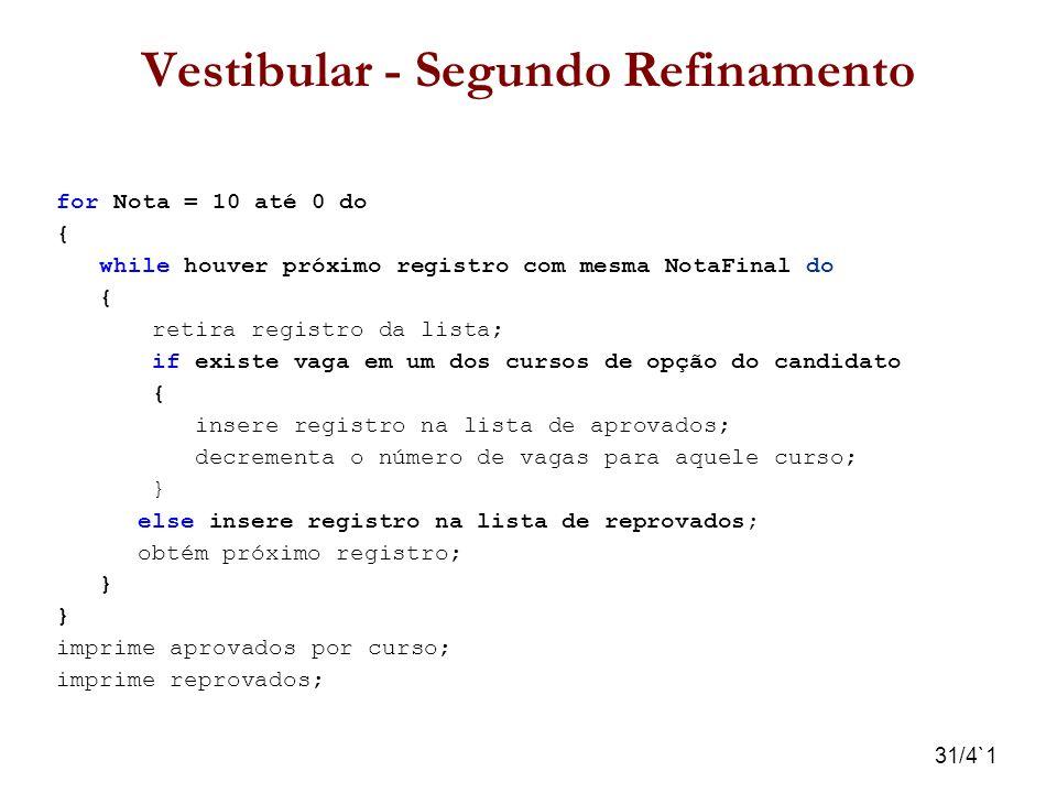 31/4`1 Vestibular - Segundo Refinamento for Nota = 10 até 0 do { while houver próximo registro com mesma NotaFinal do { retira registro da lista; if e