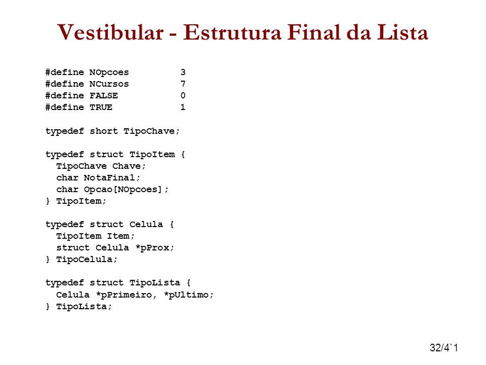 32/4`1 Vestibular - Estrutura Final da Lista #define NOpcoes 3 #define NCursos 7 #define FALSE 0 #define TRUE 1 typedef short TipoChave; typedef struc