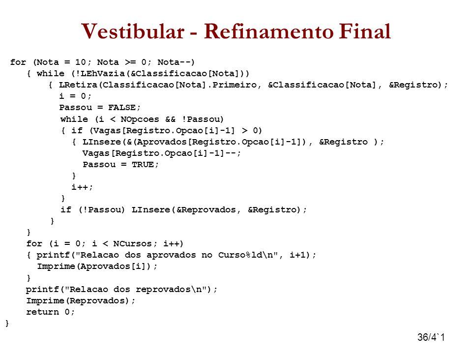 36/4`1 Vestibular - Refinamento Final for (Nota = 10; Nota >= 0; Nota--) { while (!LEhVazia(&Classificacao[Nota])) { LRetira(Classificacao[Nota].Prime
