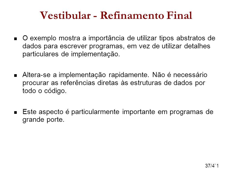 37/4`1 Vestibular - Refinamento Final O exemplo mostra a importância de utilizar tipos abstratos de dados para escrever programas, em vez de utilizar