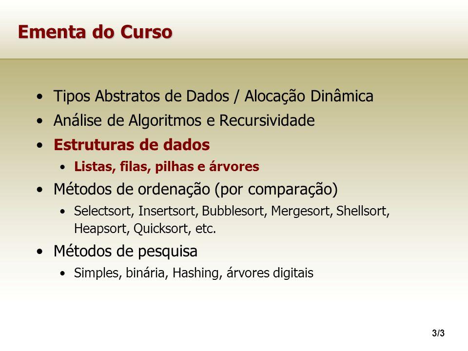 3/3 Ementa do Curso Tipos Abstratos de Dados / Alocação Dinâmica Análise de Algoritmos e Recursividade Estruturas de dados Listas, filas, pilhas e árv