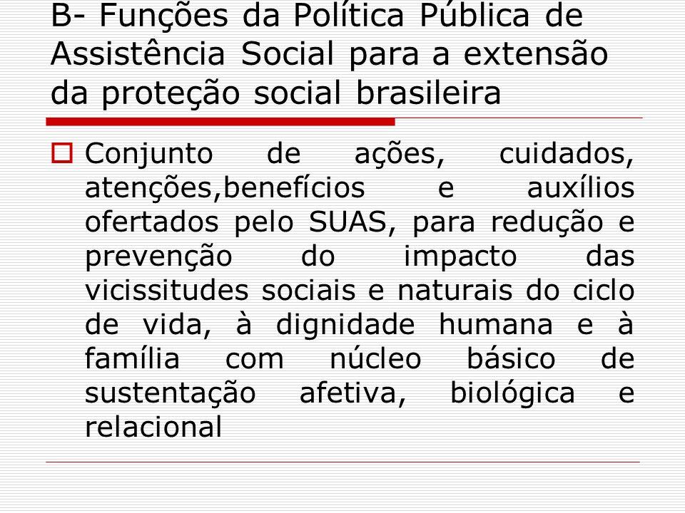 B- Funções da Política Pública de Assistência Social para a extensão da proteção social brasileira Conjunto de ações, cuidados, atenções,benefícios e