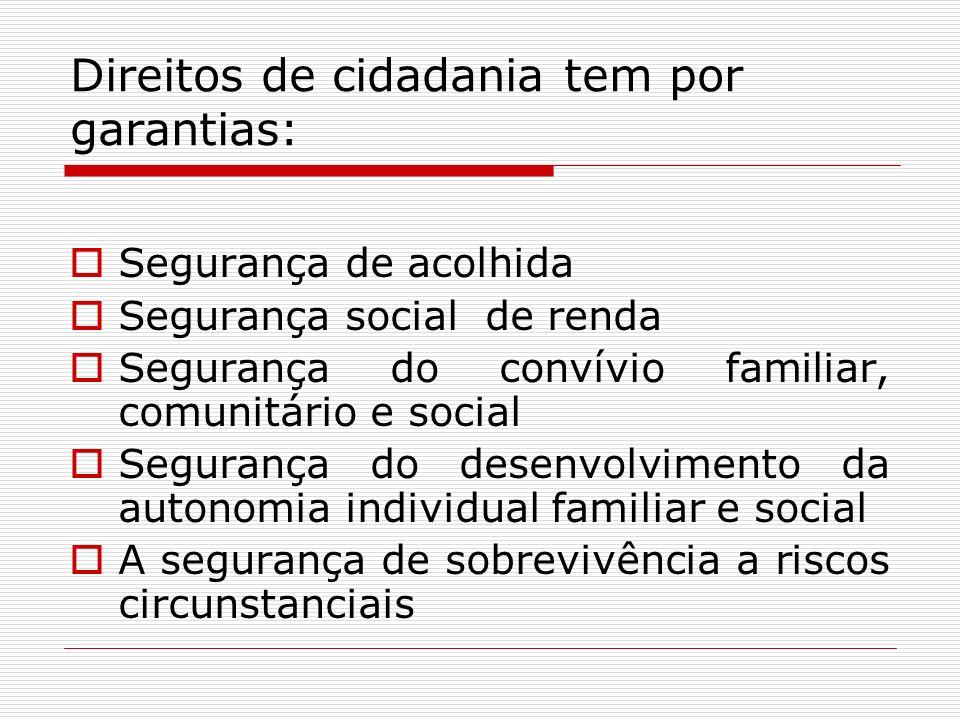 Direitos de cidadania tem por garantias: Segurança de acolhida Segurança social de renda Segurança do convívio familiar, comunitário e social Seguranç