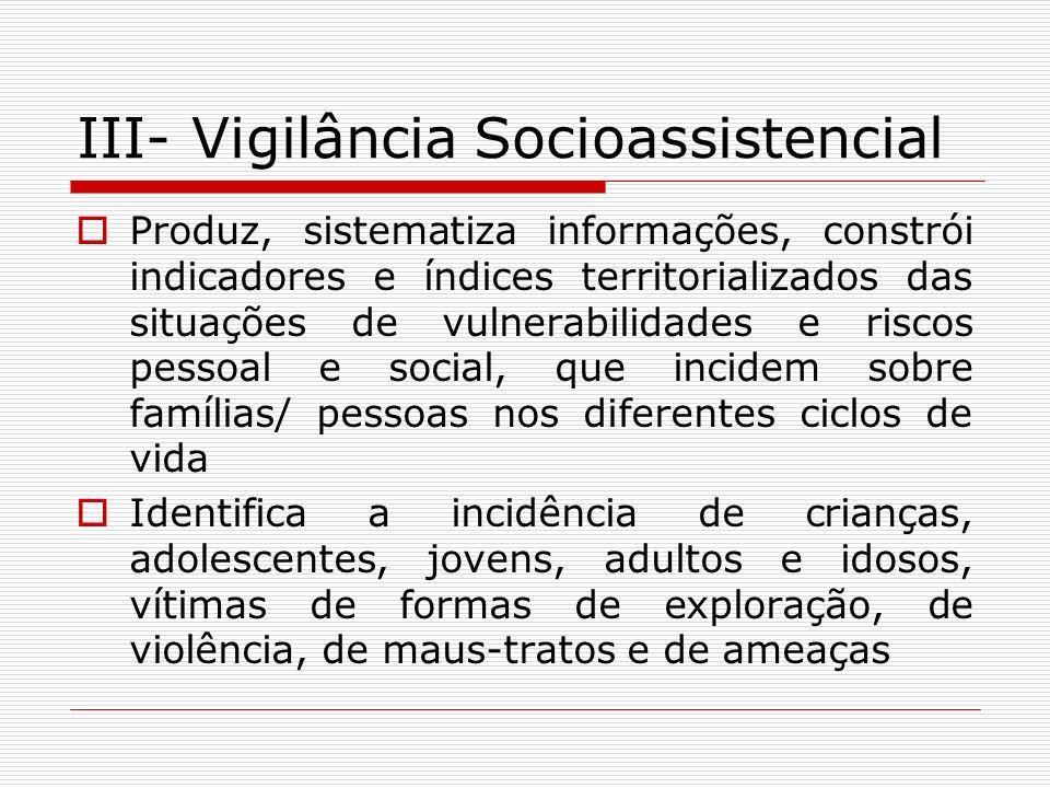 III- Vigilância Socioassistencial Produz, sistematiza informações, constrói indicadores e índices territorializados das situações de vulnerabilidades