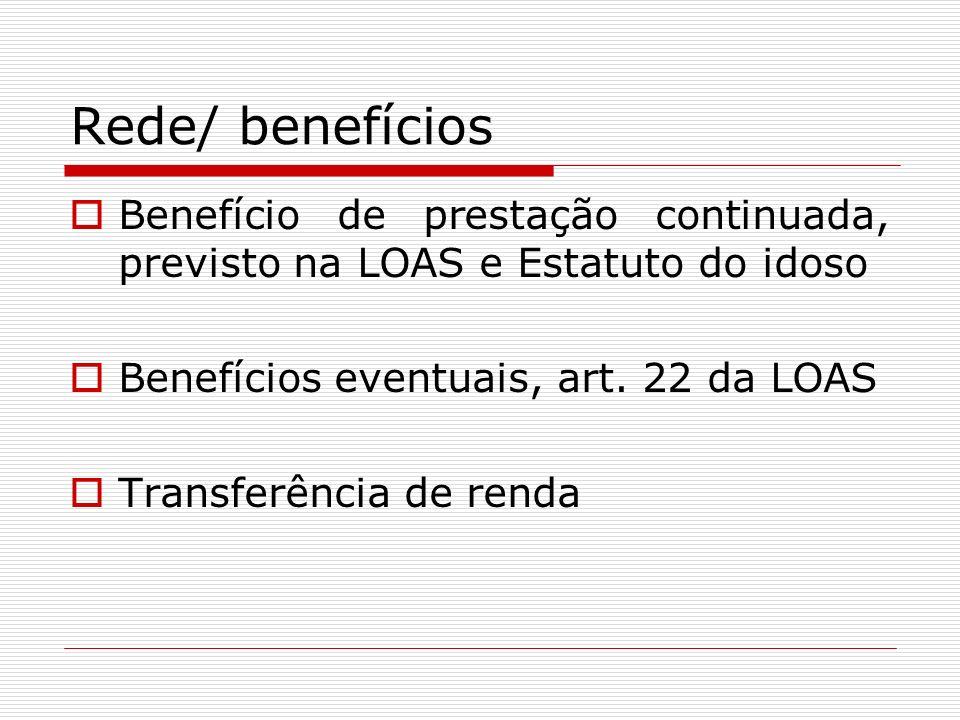 Rede/ benefícios Benefício de prestação continuada, previsto na LOAS e Estatuto do idoso Benefícios eventuais, art. 22 da LOAS Transferência de renda