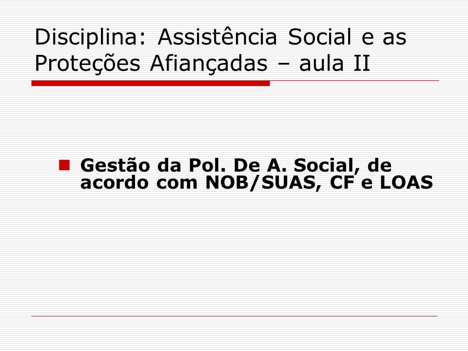Disciplina: Assistência Social e as Proteções Afiançadas – aula II Gestão da Pol. De A. Social, de acordo com NOB/SUAS, CF e LOAS