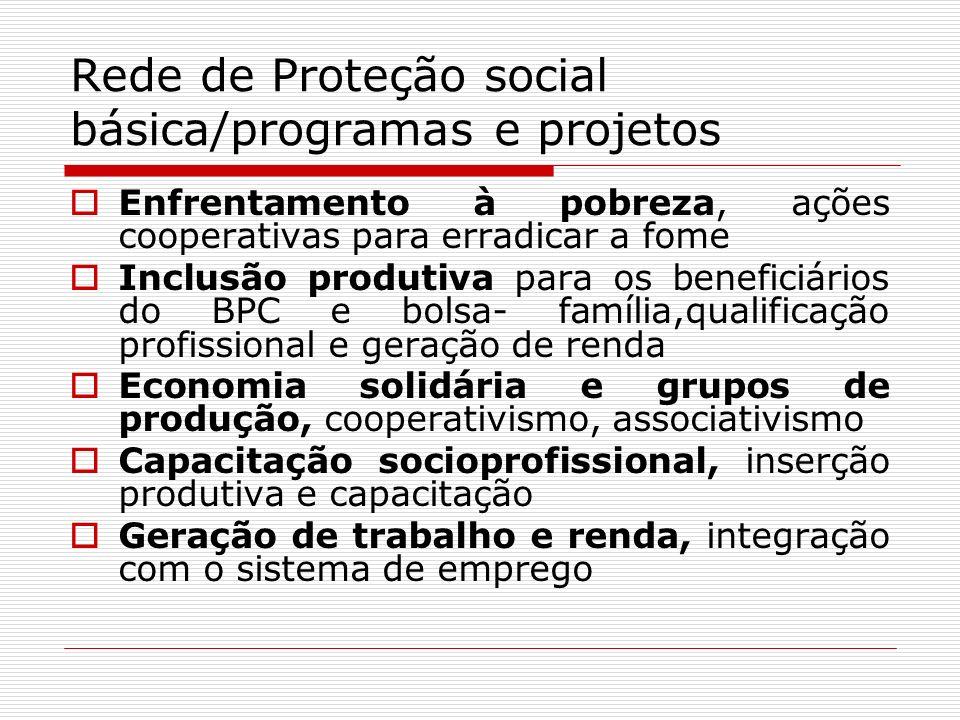 Rede de Proteção social básica/programas e projetos Enfrentamento à pobreza, ações cooperativas para erradicar a fome Inclusão produtiva para os benef