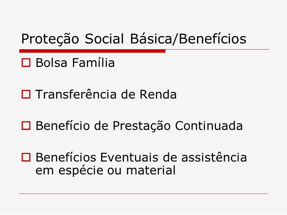 Proteção Social Básica/Benefícios Bolsa Família Transferência de Renda Benefício de Prestação Continuada Benefícios Eventuais de assistência em espéci
