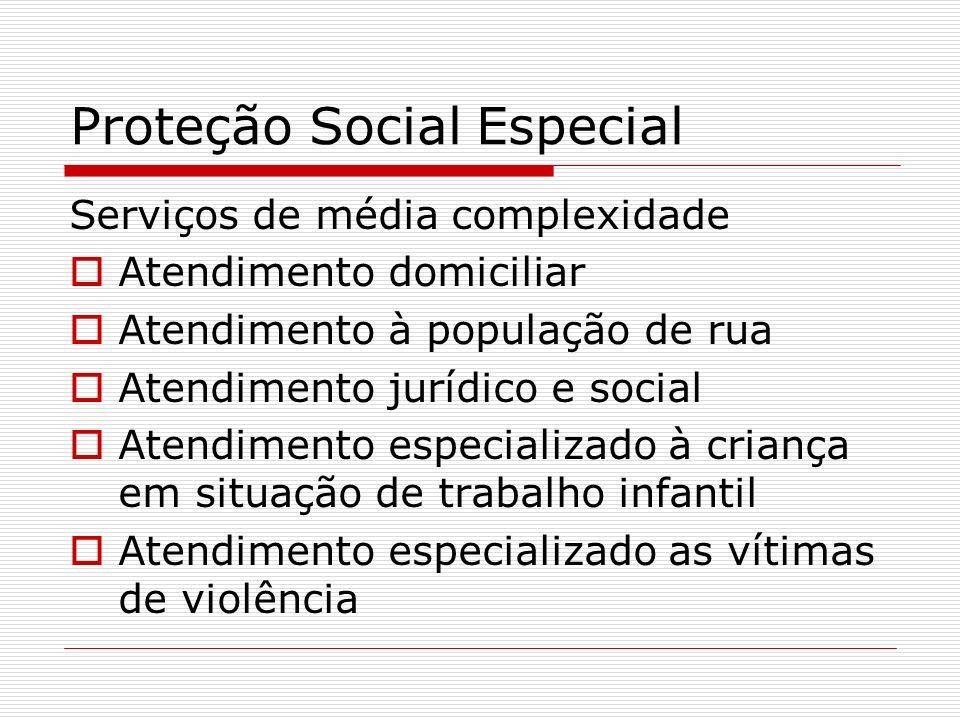 Proteção Social Especial Serviços de média complexidade Atendimento domiciliar Atendimento à população de rua Atendimento jurídico e social Atendiment