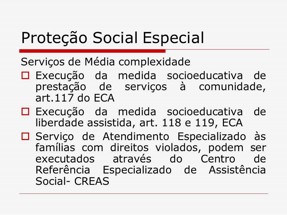 Proteção Social Especial Serviços de Média complexidade Execução da medida socioeducativa de prestação de serviços à comunidade, art.117 do ECA Execuç