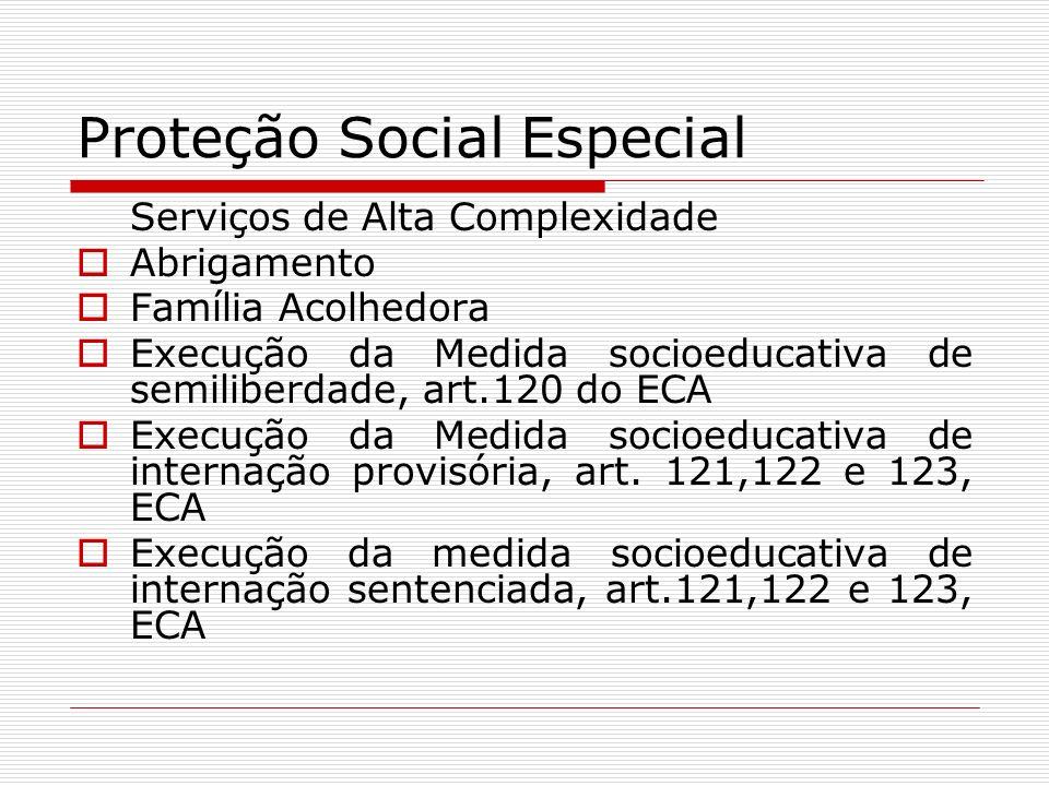 Proteção Social Especial Serviços de Alta Complexidade Abrigamento Família Acolhedora Execução da Medida socioeducativa de semiliberdade, art.120 do E