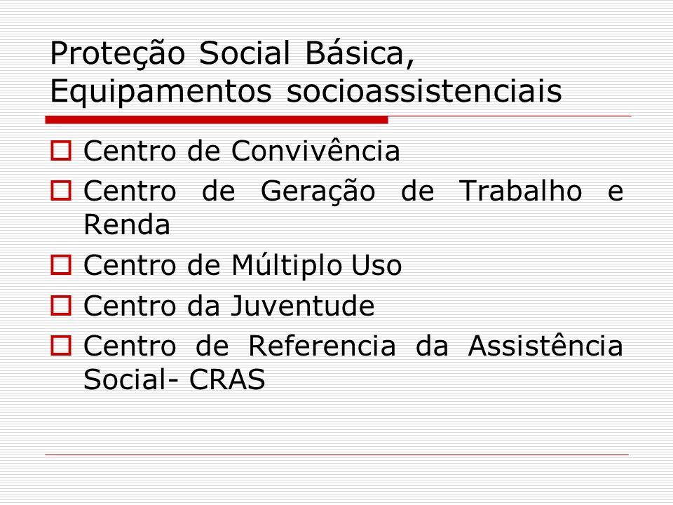 Proteção Social Básica, Equipamentos socioassistenciais Centro de Convivência Centro de Geração de Trabalho e Renda Centro de Múltiplo Uso Centro da J