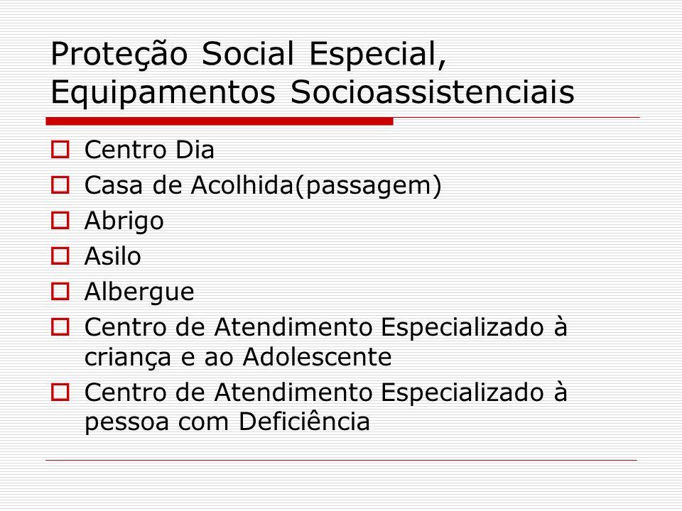 Proteção Social Especial, Equipamentos Socioassistenciais Centro Dia Casa de Acolhida(passagem) Abrigo Asilo Albergue Centro de Atendimento Especializ