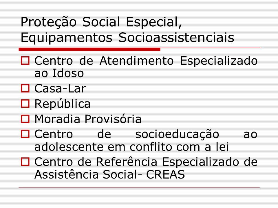 Proteção Social Especial, Equipamentos Socioassistenciais Centro de Atendimento Especializado ao Idoso Casa-Lar República Moradia Provisória Centro de